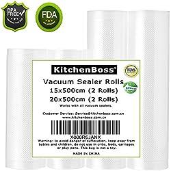 Vakuumrollen,Profi- Folienrollen kitchenboss 4 Rollen 15x500cm und 20x500cm, Kommerzielle geprägte Taschen für Nahrungsmittelretter und Sous Vide Kochen, FDA-Zustimmung und BPA frei