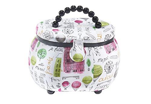 Kobolo Verspieltes Nähkästchen aus Kunststoff und Textil in Den Farben Weiß und Rosa