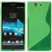 S Line TPU–Carcasa para Sony Xperia Z (L36H) funda de silicona en neón verde @ Energmix