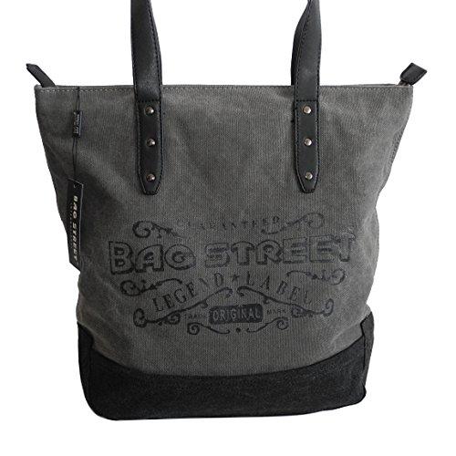 Modische Canvas Tasche von Bag Street - Damentasche Shopper Umhängetasche Vintage Handtasche - Baumwollstoff Segelstoff ( Dunkelgrau ) - präsentiert von ZMOKA® Dunkelgrau