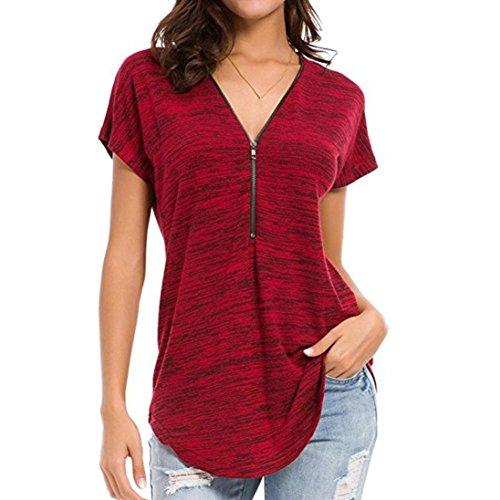 TITIU Damen Loose Fitting Zip up V-Ausschnitt Kurzarmshirts Tunika Freizeithemd Bluse Oberteil Tees Tops(Rot,XL)