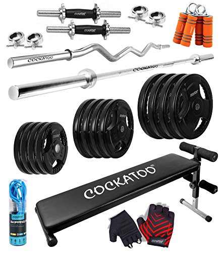 cockatoo professional gym training (10 kg to 100 kg) home gym set with regular metal integrated rubber plates with sit up bench; home gym set; gym combo Cockatoo Professional Gym Training (10 Kg to 100 Kg) Home Gym Set With Regular Metal Integrated Rubber Plates With Sit Up Bench; Home Gym Set; Gym Combo 51AEkjwzpNL