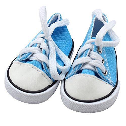 Wokee Mini Puppe Turnschuhe,Canvas Schnürschuhe,PU + Leinwand,7cm * 4cm,Stoffschuhe Sneakers für 18 Zoll Unsere Generation American Girl & Boy Dolls (Blau) (Puppe Sind Generation Schuhe)