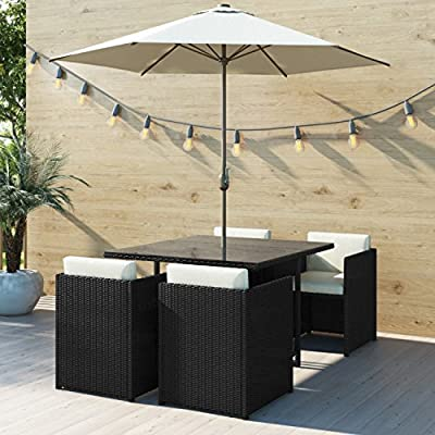 Fortrose Black Rattan 6 Piece Outdoor Dining Cube Set - Cream Parasol Included