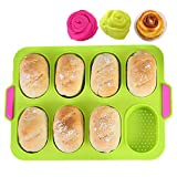 KeepingcooX Mini-Baguette-Backblech, 34 x 24 cm, Antihaft-Lochblech | Brot Crisping Tray, Laib Backform, French-Bread, Breadstick und Brötchen mit köstlichen knusprigen Krusten, mit 2 Rosenformen
