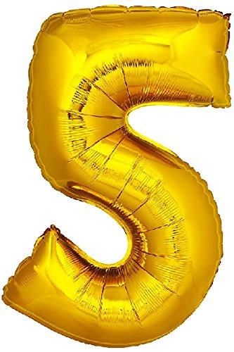 DekoRex número Globo decoración cumpleaños Brillante para Aire y Helio en Oro 120cm de Alto No. 5