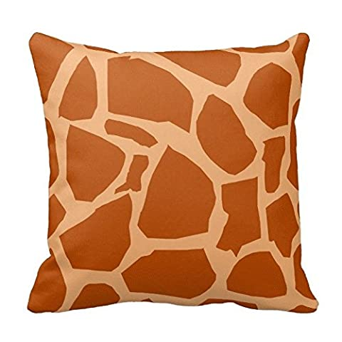 Double Khaki Giraffe Animal Print Zippered Decorative Pillow Cushion Case Covers for Sofa 16x16 Inch Two