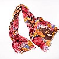 Sciarpa con stampa pura lana Cashmere seta cotone moda seta stampa multi-colore calore Womens scialle Wrap spalla Gathering , cherry red