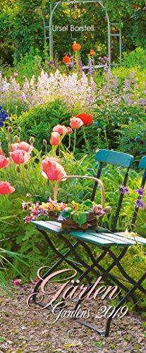 Gärten 2019: Schmaler Wandkalender. Foto-Kunstkalender von Garten-Stilleben. PhotoArt Vertikal...