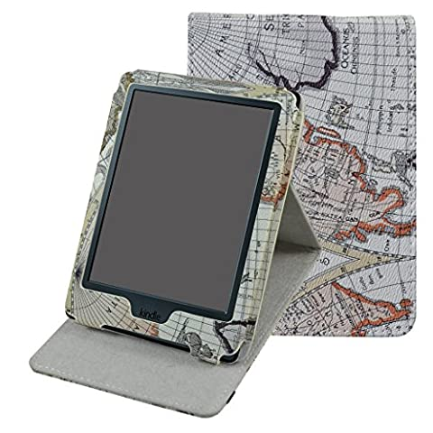 Kindle 8 Generation Hülle,Mama Mouth Ständer Schutzhülle Schale Smart Case mit Auto Sleep / Wake für der Neue Amazon Kindle (8. Generation - 2016 Modell) 6 Zoll eReader,Landkarte