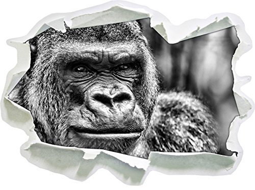 Monocrome, stolzer Gorilla Papier im 3D-Look, Wand- oder Türaufkleber, Wandsticker, Wandtattoo, Wanddekoration