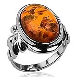 Bernstein Sterling Silber Klassisch Ring Größe 49 (15.6)