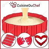 ✮ CuisineDuChef ✮ Moule silicone pour gâteaux & pâtisseries   Multi-formes : coeur, rond, carré etc   Moule cuisson original   Idéal gâteau d'anniversaire & décoration   DIY 4 pièces à assembler