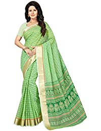 Rani Saahiba Poly Cotton Printed Saree With Blouse Piece (SKR4125_Green)