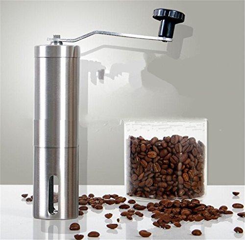 Edelstahl Manuelle Kaffeemühle mit Keramikmahlwerk aus Edelstahl für Kaffeebohnen Gewürze Nüsse Pfeffer