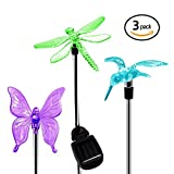 #5: Quace Solar Garden Lights, Hummingbird, Butterfly & Dragonfly Solar Stake Lights, Solar Powered Pathway Lights, Multi-Color Changing Led Lights