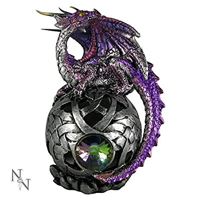 Purple LED Colour Changing Arthran Dragon On Sphere Ornament Figurine