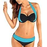 ESAILQ Frauen Push-Up Gepolsterter BH Bandeau-Bikini-Badeanzug Mit Niedriger Taille Und ÜBergrößE(Medium,Hellblau)