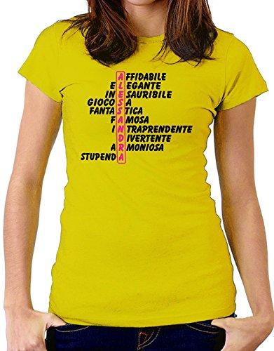 Tshirt Tshirt con nome Alessandra e aggettivi simpatici - idea regalo - Tutte le taglie Giallo