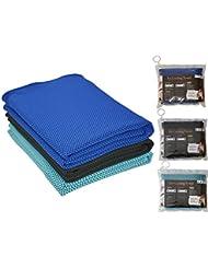 Esperanza Shine Deporte Enfriamiento toalla toallas de gimnasio de secado rápido Cool Toalla para Yoga 3-Pack, Black+Dark Blue+Blue