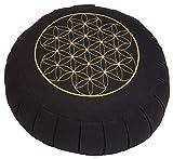 """Meditationskissen ZAFU BASIC (schwarz) rund mit Dehnfalten, mit Stickerei """"Blume des Lebens"""", Dinkel-Füllung, Ø 32 cm,17cm hoch, Yogakissen, Sitzkissen"""
