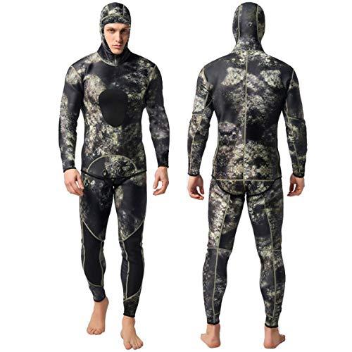 Nataly Osmann Camo Spearfishing Wetsuits Herren 3mm Premium Neopren 2-teilige Kapuzen-Super-Stretch-Tauchanzug- Gr. XL, Camo 1