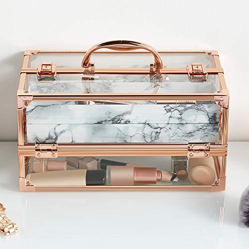 Beautify Grande mallette de rangement de maquillage en acrylique — Vanity professionnel avec structure dorée (Marbre)