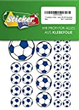 114 Aufkleber, Fußball, Sticker, 15-50 mm, weiß/blau, aus PVC, Folie, bedruckt, selbstklebend, EM, WM, Bundesliga