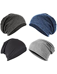 Gajraj Unisex Cotton Beanie Cap (Black, Grey and Blue_Free Size) - Pack of 4