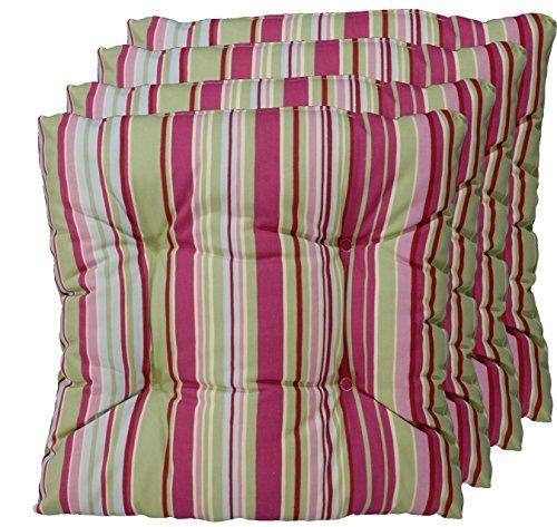 Buntes 4er Set Sitz-kissen aus deutscher Herstellung, Stuhl-polster Grün, Violett 40x40 cm