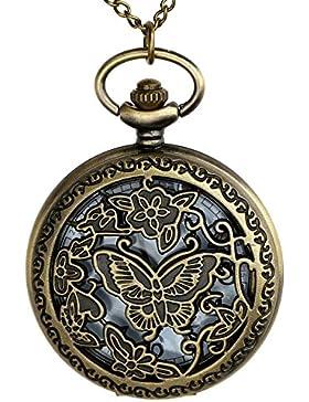 JSDDE Vintage Bronze Hollow Schmetterling Taschenuhr Ketteuhr Analog Quarz Uhr mit Halskette Umhängeuhr Pocket...