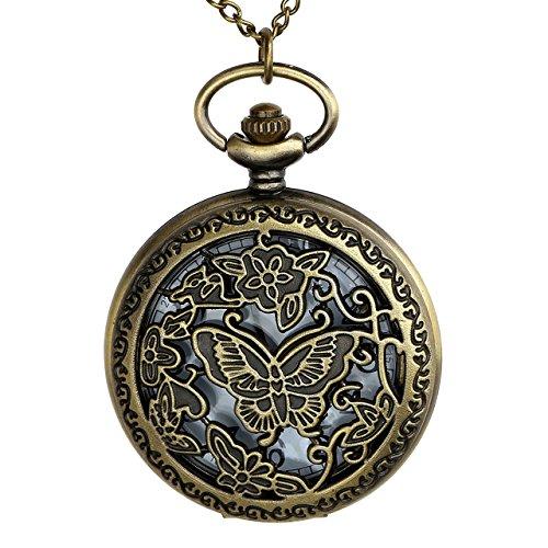 JSDDE vintage Bronze Hollow farfalla orologio da taschino catena orologio collana orologio al quarzo con catena tracolla Orologio Pocket Watch