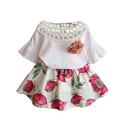 FALAIDUO Cute Kids Girls Rose Flower Short Sleeve Shirt + Skirt Set Summer Dress Set