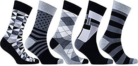 Socks n Socks Männer 5-Paar Luxus Spaß Cool Bunte Baumwollsocken Geschenkbox Einheitsgröße Mix-15