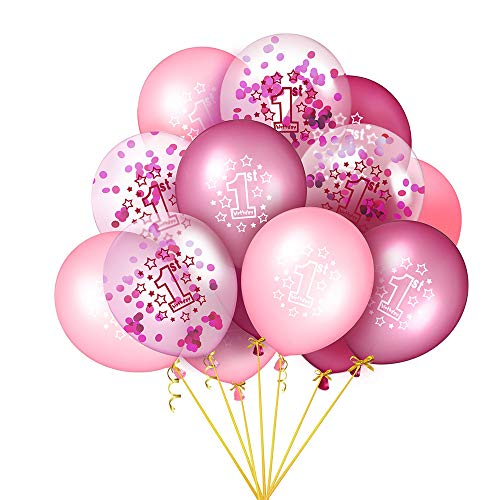 Luftballons, 15 Stück 1.Geburtstag Party Dekorationen Konfetti Luftballon,12 Zoll Heliumluftballons Latex Glitter Ballons, für Junge Mädchen Geburtstag, Babyparty, Ersten Jahrestag (Pink)