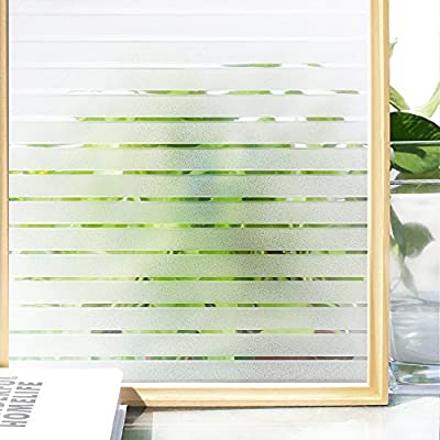 Homein Fensterfolie Sichtschutzfolie Klebefolie für Fenster Milchglasfolie Blickdicht Folie Selbstklebend Küche Bad Büro Transparent Weiß Streifen von HOMEIN CO.,LTD bei TapetenShop