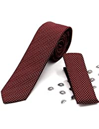 2c1a5a24a62aa Imani Uomo Skinny Pattern Microfiber Silk-Touch Ties with Hanky - Burgundy  & White