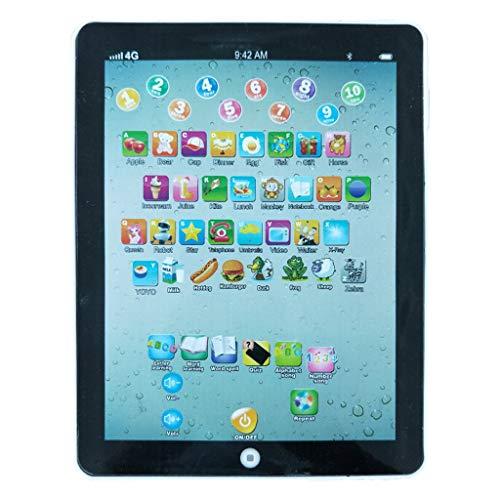 QHJ Lerntablett Tablet für Kinder Kleinkind Frühe Entwicklung Lernspiel Spielzeug Alphabet Lernen ABC Sounds Musik und Worte (A Schwarz)