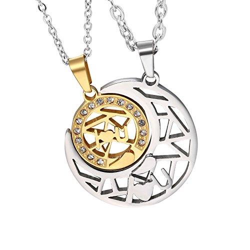 Cupimatch - Par de collares con piezas de rompecabezas colgantes, unisex, de acero inoxidable, ideal como regalo de San Valentín o Navidad. Con cadena de plata 45 - 55 cm.