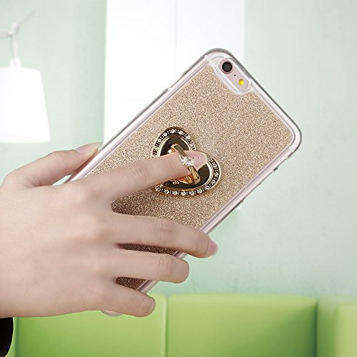 Für Apple iPhone 6 6S(4,7 Zoll),Sunrive Schutzhülle Kickstand Etui Ring Hülle TPU Silikon Scrub Rückschale Silicon Anti-Tropfen Tasche Case Bumper Abdeckung Handyhülle(Hellgrün)+Gratis Universal Einga golden