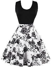 HOUSWEETY Damen elegant Cocktailkleid Festlich Partykleid Rockabilly Kleid aermellos Knielang