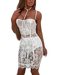 8e8165b346b9 Mode Damen Kleid Rosennie Frauen Sexy Lace Blumen Schulter Transparent  Perspektive Versuchung Mini Bodycon Tiefen V