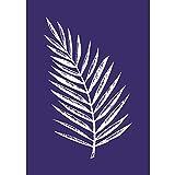Rayher 45083000 Schablone Palmenblatt, Din A5, 1 Schablone Plus1 Rakel im, Div. Materialien, Blau, 26 x 16 x 0.1 cm