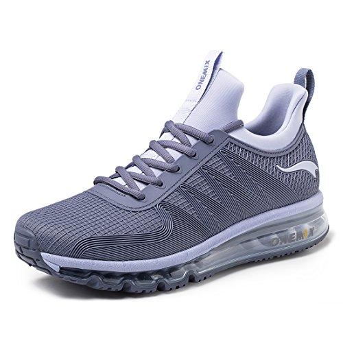 onemix Air Laufschuhe Herren Leichte Sportschuhe mit Luftpolster Turnschuhe Fitness Schuhe Sneakers Silber Grau 41