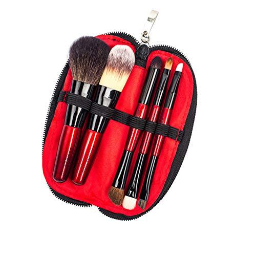VHJVBN Holz Mode 5 Stücke Make-Up Pinsel Set Kosmetische Werkzeug Pulver Wange Lidschatten Eyeliner Stirn