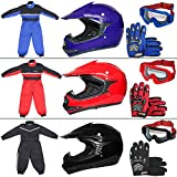 Leopard LEO-X15 Blue Kids Motocross Helmet XL(55cm) & Gloves XL(8cm) & Goggles + Children Kids Motorbike Race Suit L(9-10Yrs)