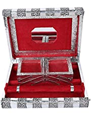 Kuber Industries Wooden Handmade Jewellery Box for Women (Silver)-CTKTC04037
