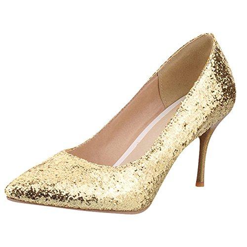 Mee Shoes Damen Stiletto Pailleten Geschlossen Pumps Gold