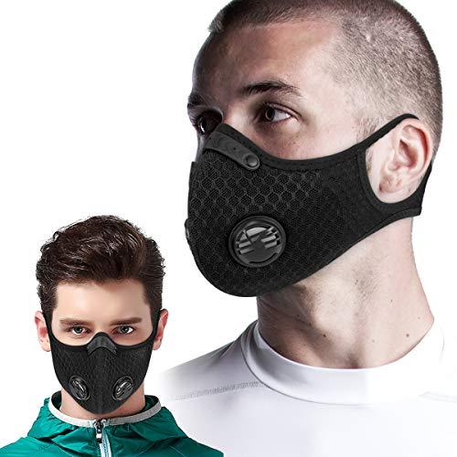 King Bike Staubmaske mit winddichtem Gehörschutz - Atemschutzmaske mit Filterfiltration Baumwolltuchventile Abgas Pollenallergie PM2.5 N95 (Mesh Style)