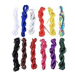 Idea Regalo - Healifty Corda di nylon colorato arcobaleno stringhe corde per braccialetto nodo cinese filo accessori fai da te 10M - 12pz